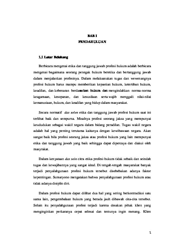 Doc Etika Dan Tanggung Jawab Profesi Hukum Luthfiatul Mufarrrochah Ar Academia Edu