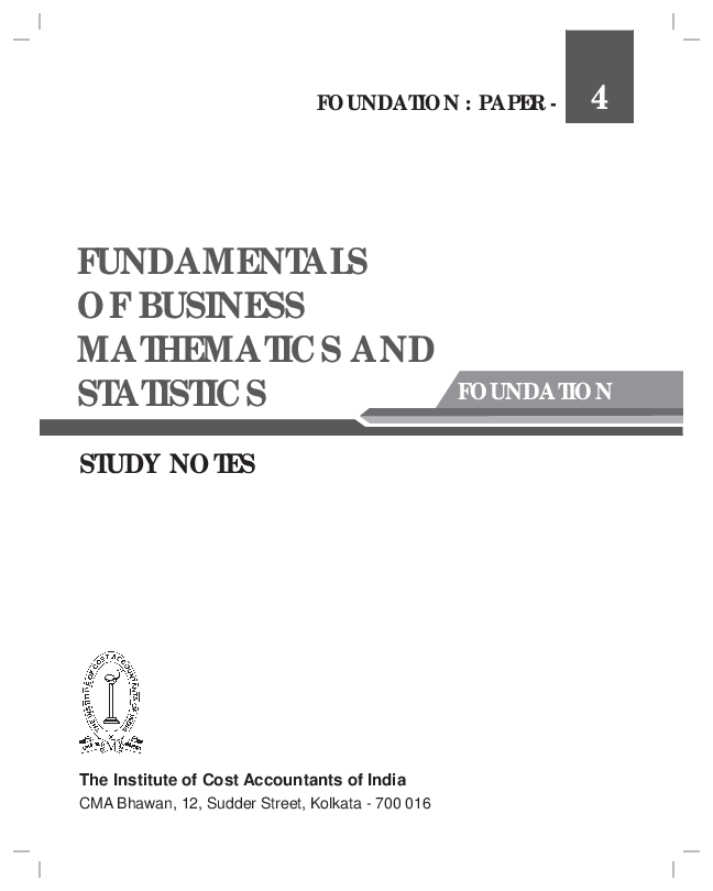PDF) FUNDAMENTALS OF BUSINESS MATHEMATICS AND STATISTICS