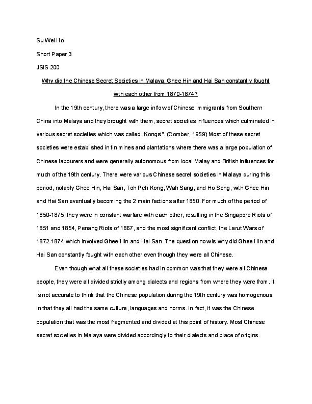 thesis chinese secret societies