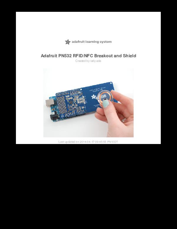 PDF) Adafruit PN532 RFID/NFC Breakout and Shield | Jaqcues