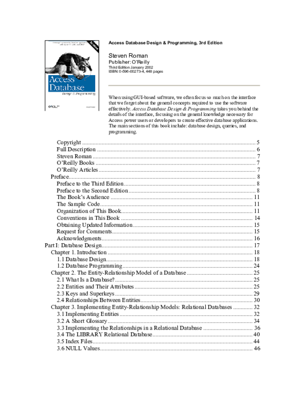 PDF) Access database design programming third edition | Carlos Coral