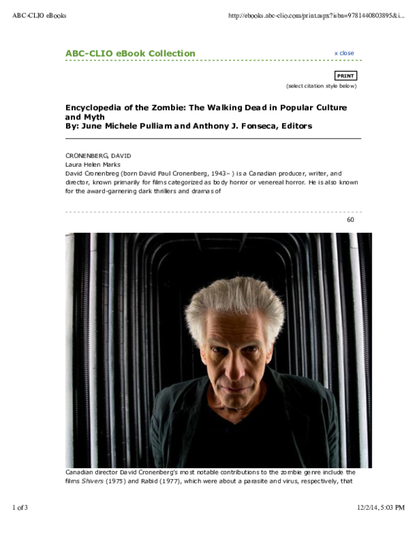 Pdf David Cronenberg From Encyclopedia Of The Zombie The