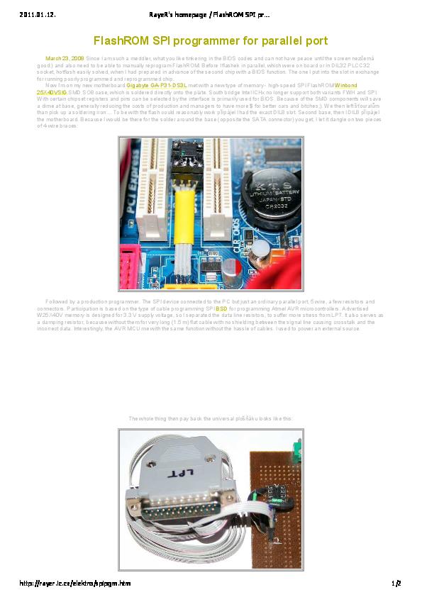PDF) FlashROM SPI programmer for parallel port | Jessy Zelada