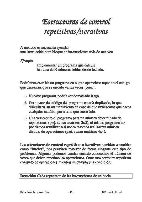 Pdf Estructuras De Control Java 19 Alfredo Yujra
