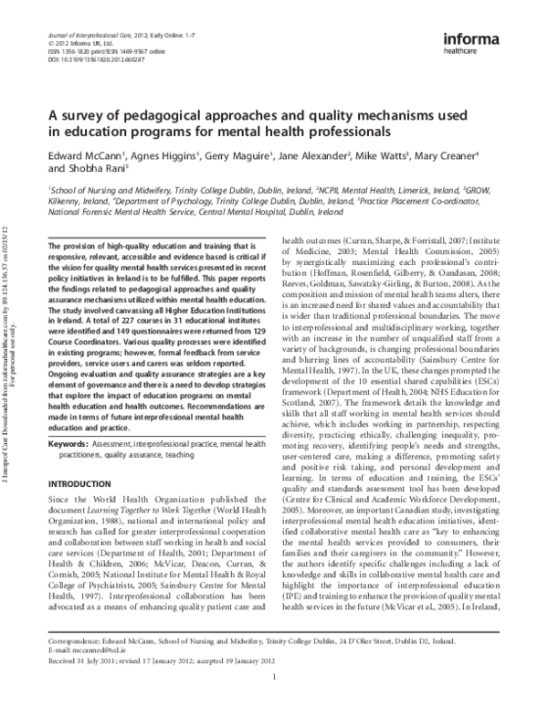 Pdf A Survey Of Pedagogical Approaches And Quality Mechanisms Used In Education Programmes For Mental Health Professionals Edward Mccann Phd Academia Edu