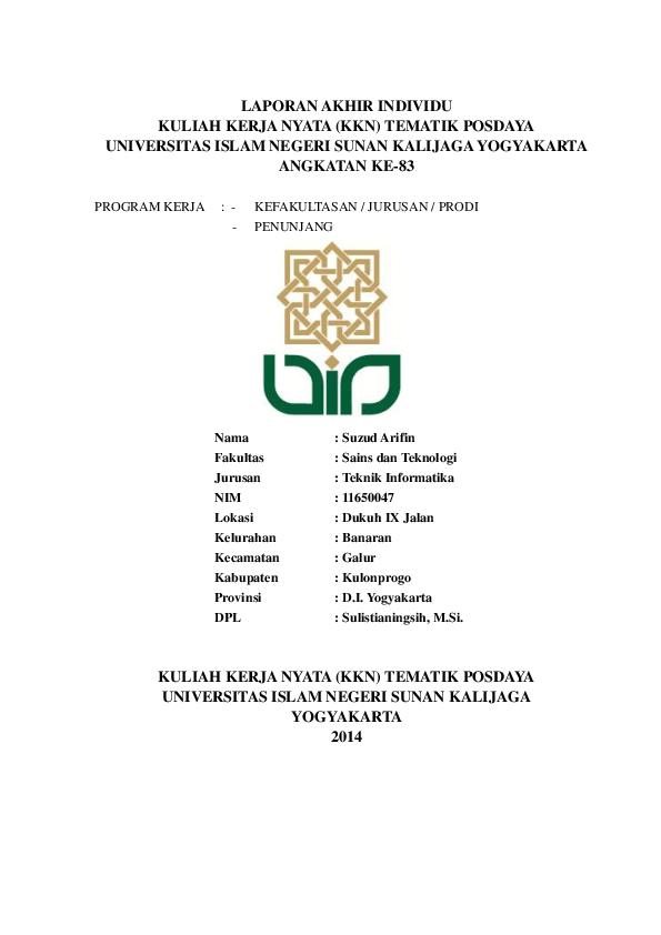 Pdf Laporan Akhir Individu Kuliah Kerja Nyata Kkn Tematik Posdaya Universitas Islam Negeri Sunan Kalijaga Yogyakarta Angkatan Ke 83 Anggit Damaz Academia Edu