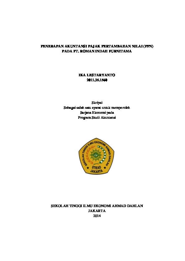 Doc Penerapan Akuntansi Pajak Pertambahan Nilai Ppn Pada Pt