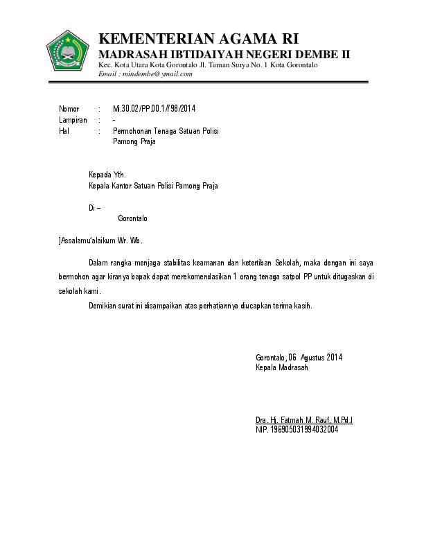 Doc Contoh Surat Permohonan Satpol Pp Hariyanto Liputo