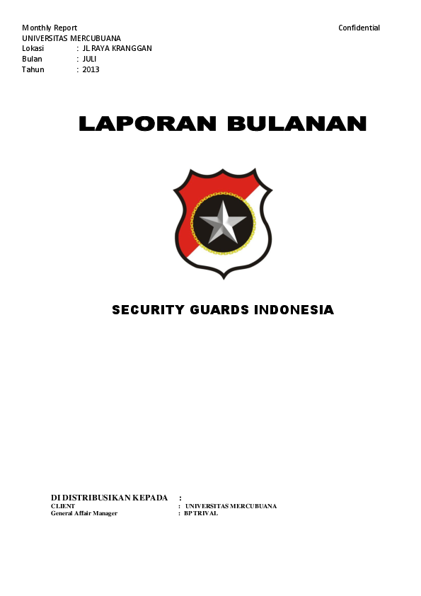 Doc Security Guards Indonesia Distribusikan Kepada Client Universitas Mercubuana General Affair Manager Bp Trival Armas Armas Academia Edu