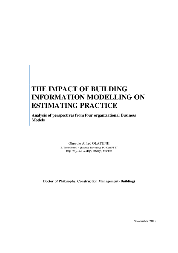 PDF) The impact of building information modelling on