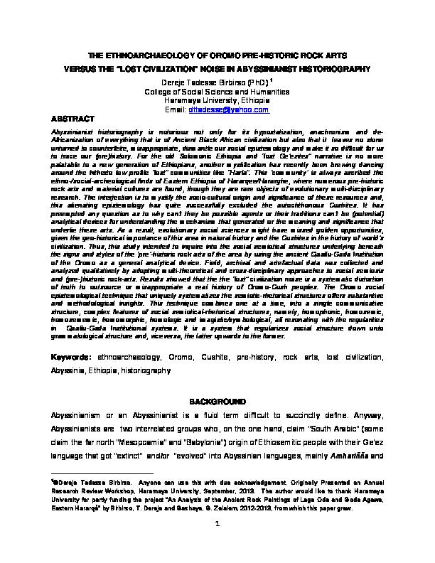 PDF) THE ETHNOARCHAEOLOGY OF OROMO PRE-HISTORIC ROCK ARTS