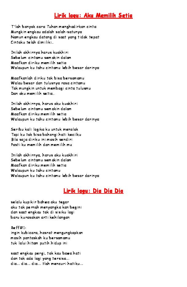 Doc Lirik Lagu Fatin Linda Lestari Academia Edu