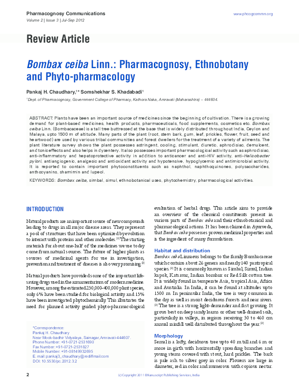 PDF) Review Article Bombax ceiba Linn : Pharmacognosy, Ethnobotany
