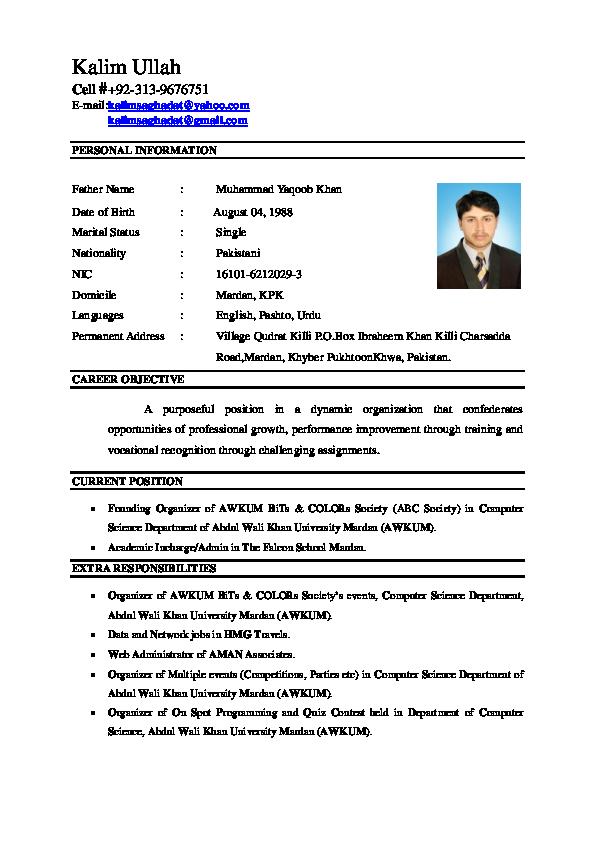 PDF) Kalim CV | Kalim Ullah - Academia edu