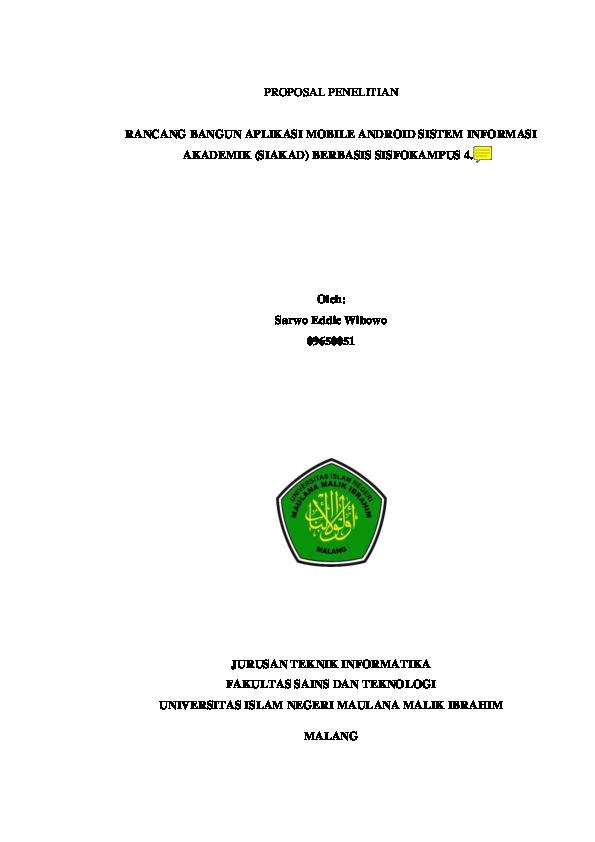 Pdf Proposal Penelitian Rancang Bangun Aplikasi Mobile Android Sistem Informasi Akademik Siakad Berbasis Sisfokampus 4 1 Oleh Jurusan Teknik Informatika Fakultas Sains Dan Teknologi Mario Gombez Academia Edu