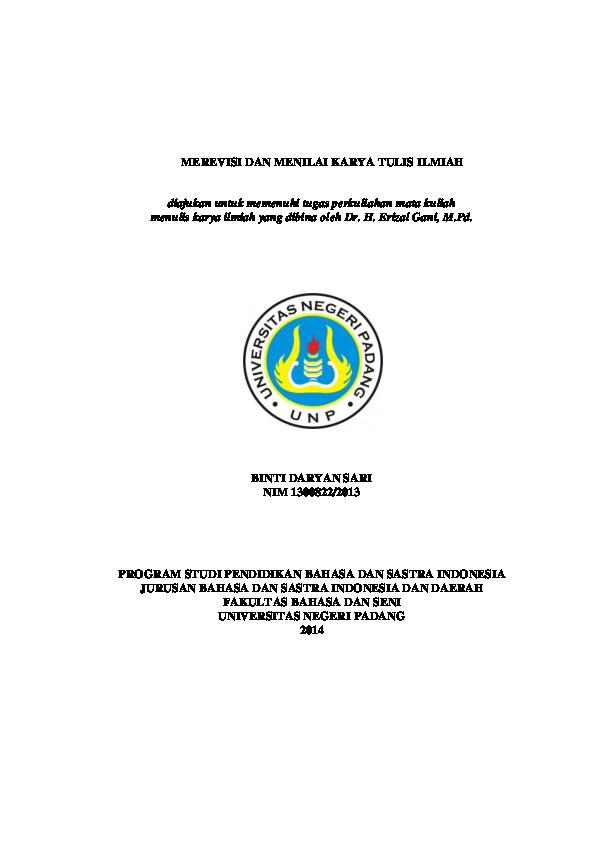 Doc Merevisi Dan Menilai Karya Ilmiah Proposal Penelitian Binti Daryansari Academia Edu