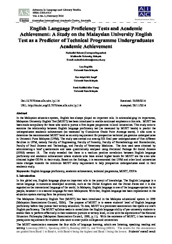Pdf English Language Proficiency Tests And Academic Achievement A Study On The Malaysian University English Test As A Predictor Of Technical Programme Undergraduates Academic Achievement Nurhazlini Rahmat Academia Edu