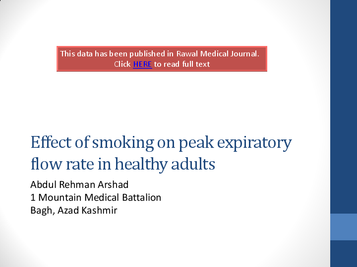 Ppt Effect Of Smoking On Peak Expiratory Flow Rate In Healthy