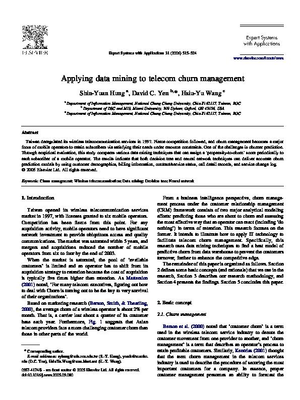 PDF) Applying data mining to telecom churn management | Ambrose