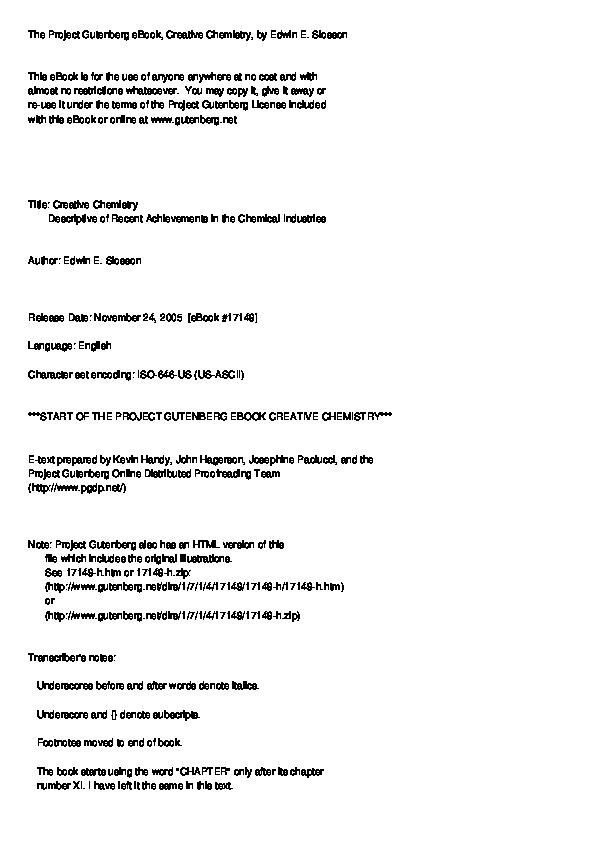 Pdf The Project Gutenberg Ebook Creative Chemistry Khurram Farooq Academia Edu