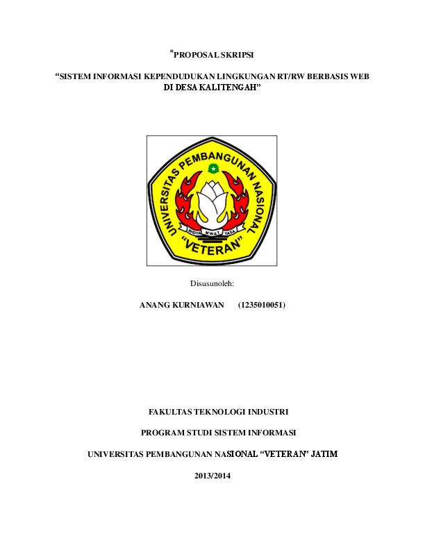 Pdf Proposal Skripsi Sistem Informasi Kependudukan Lingkungan Rt