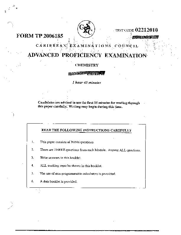 PDF) cape unit 1 past papers chem | sasha ramdeen - Academia edu