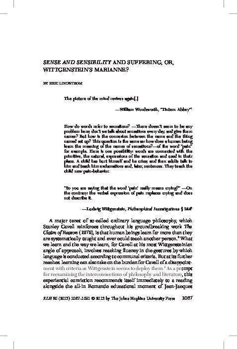 PDF) Sense and Sensibility and Suffering