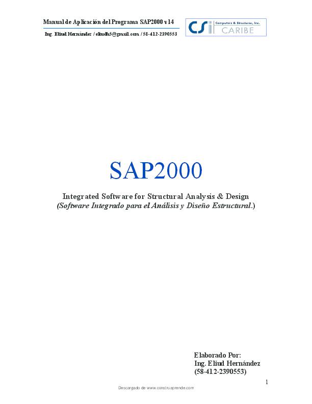 Pdf Manual De Aplicación Del Programa Sap2000 V14 Moises