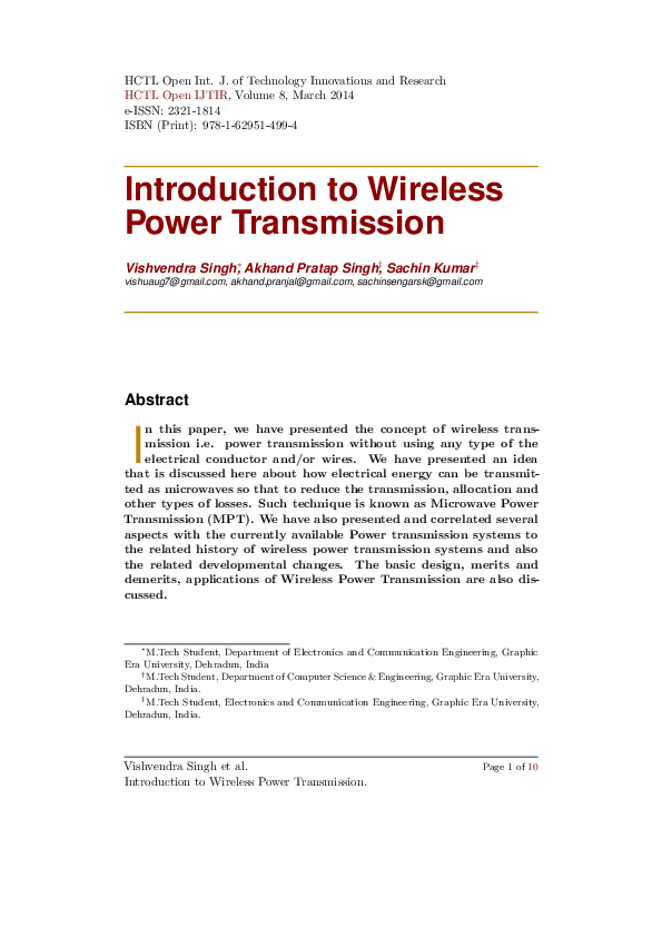 PDF) Introduction to Wireless Power Transmission | Sachin