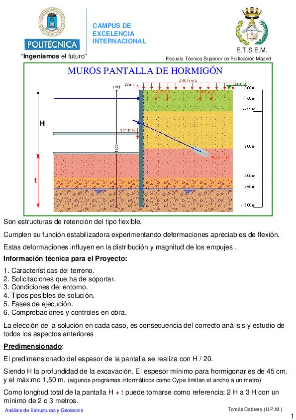 Pdf Muros Pantalla De Hormigón Ander Rodriguez Academia Edu
