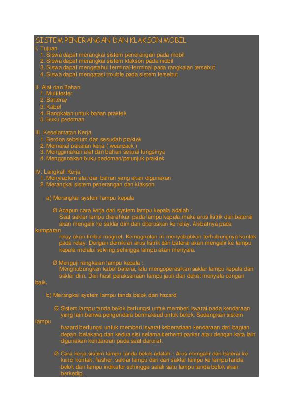 Doc Sistem Penerangan Pada Mobil Dan Klakson Janturan Fc