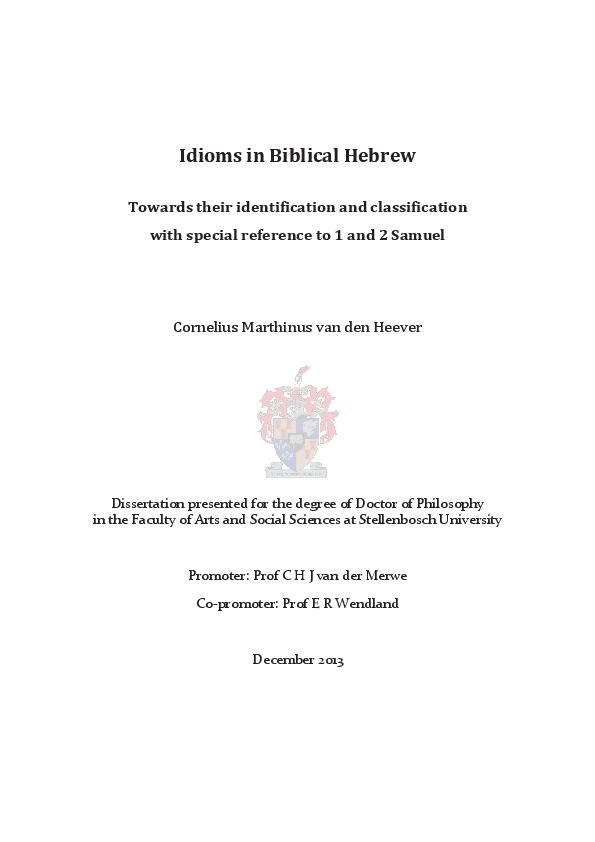 PDF) Idioms in Biblical Hebrew: Towards their identification