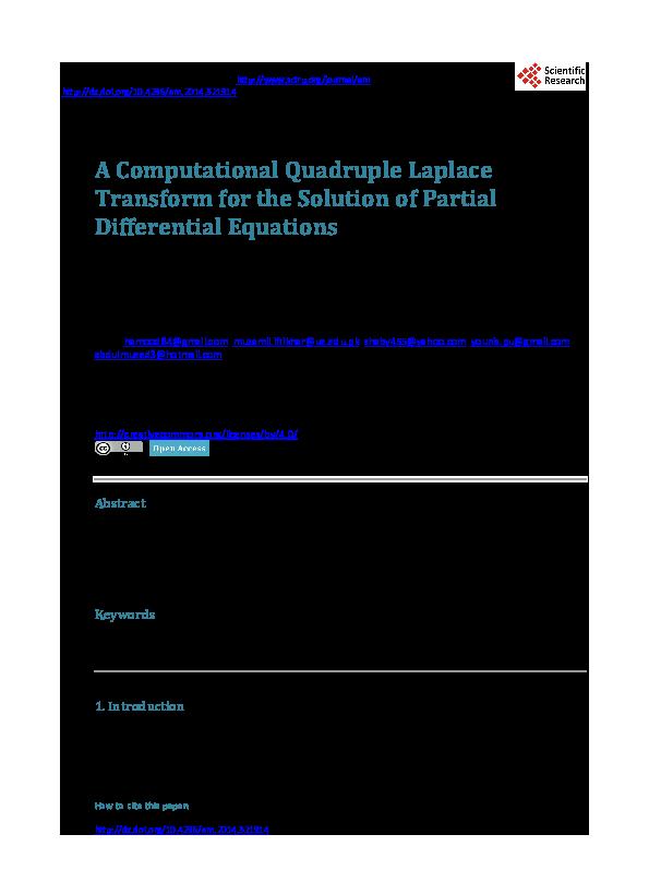 PDF) A Computational Quadruple Laplace Transform for the