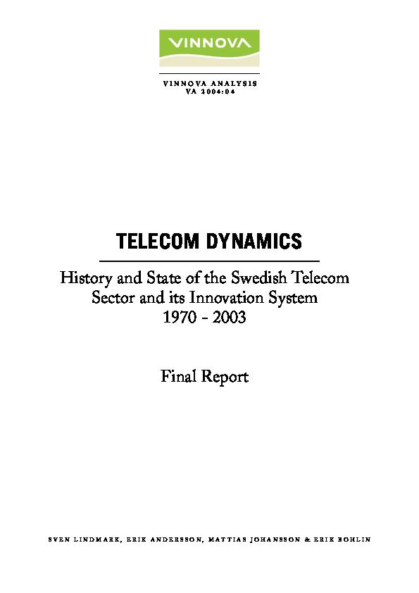 PDF) Telecom Dynamics History and state of the Swedish