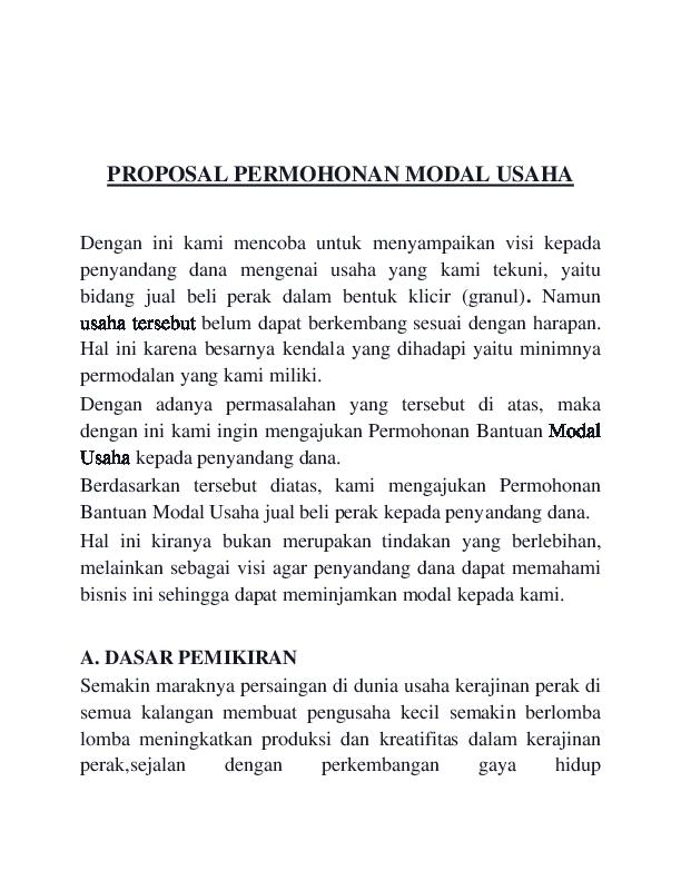 Doc Proposal Permohonan Modal Usaha Rhozsief Aqlie Academia Edu