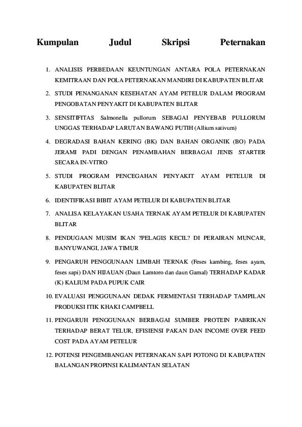 Doc Kumpulan Judul Skripsi Peternakan Kagiapi Gobai Academia Edu