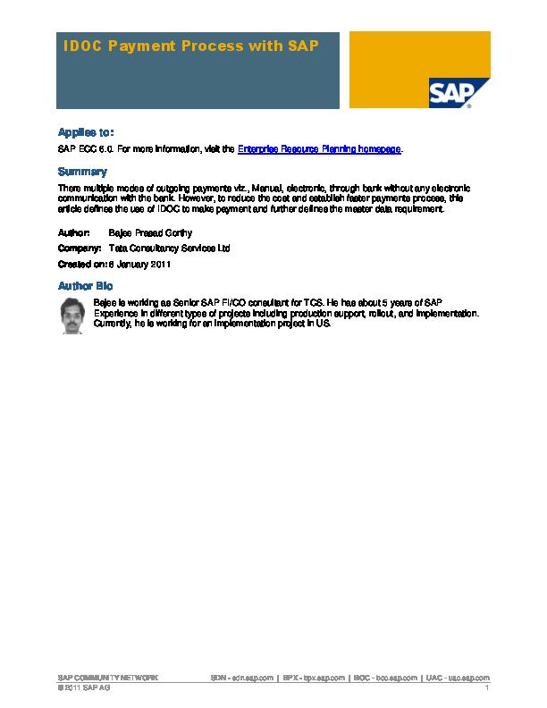 PDF) SAP COMMUNITY NETWORK IDOC Payment Process with SAP
