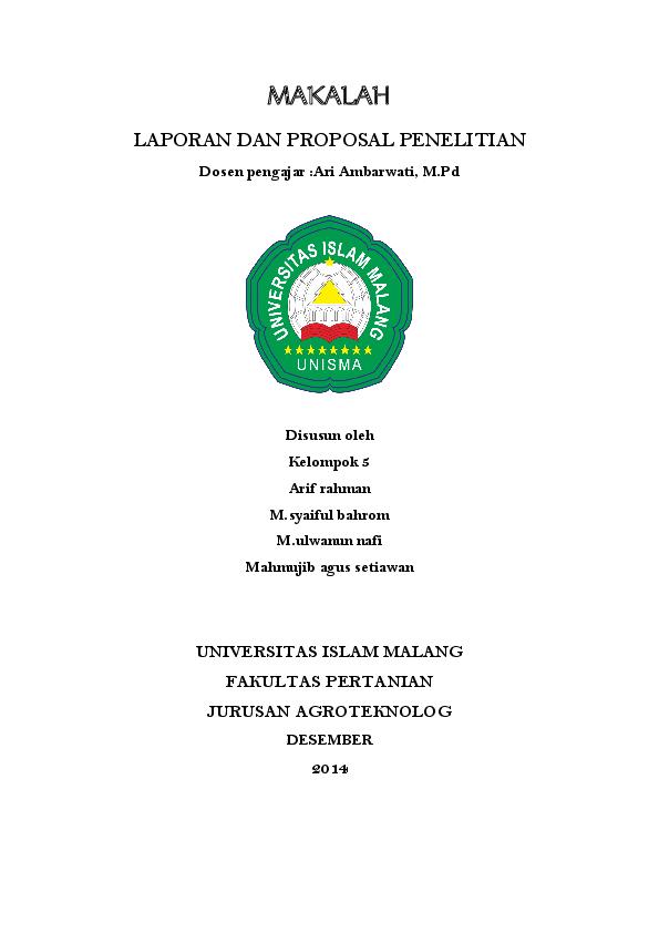 Doc Makalah Laporan Dan Proposal Penelitian Arief Rahman Academia Edu