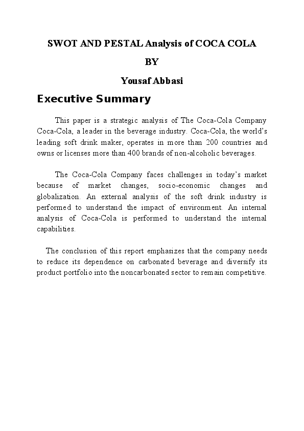 DOC) SWOT AND PESTAL ANALYSIS OF COCA COLA | Yousaf Abbasi