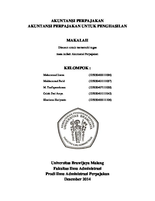 Doc Akuntansi Perpajakan Akuntansi Perpajakan Untuk Penghasilan Makalah Disusun Untuk Memenuhi Tugas Mata Kuliah Akuntansi Perpajakan Kelompok Quetza Coatl Academia Edu