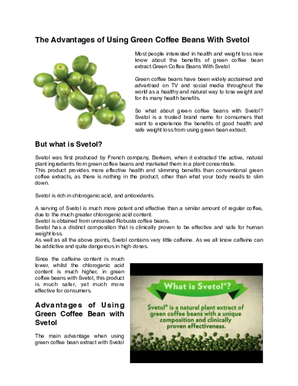 Pdf The Advantages Of Using Green Coffee Beans With Svetol