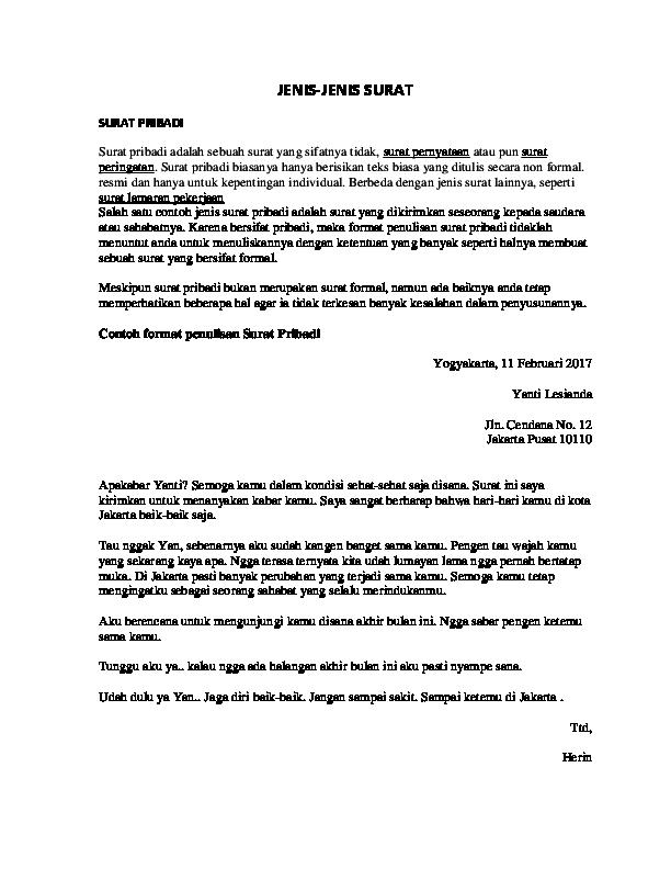 Doc Jenis Jenis Surat Dimas Prayogi Academiaedu