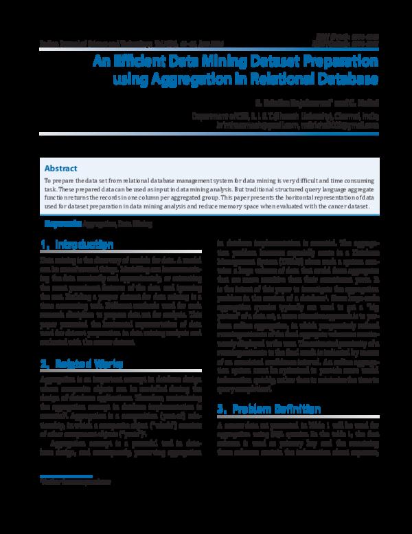 PDF) An Efficient Data Mining Dataset Preparation using