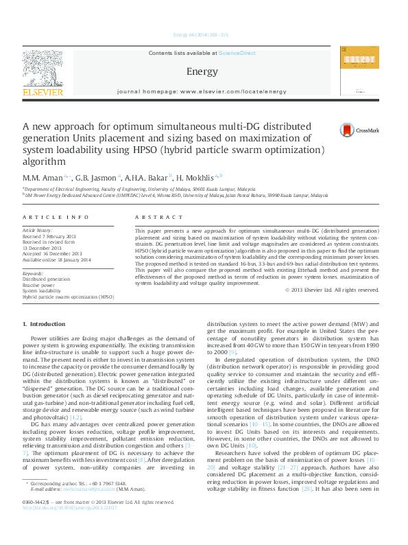 PDF) A new Approach for Optimum Simultaneous Multi-DG units