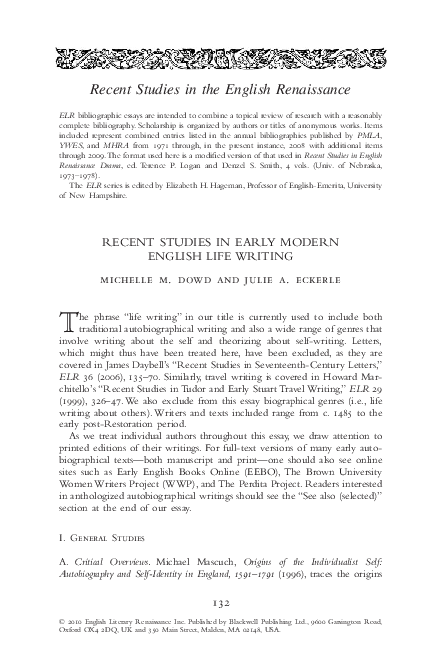 reslj pdf  recent studies in early modern english life writing julie realjameswoods early modern english life writing