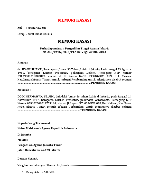 33++ Contoh surat banding cerai terbaru yang baik