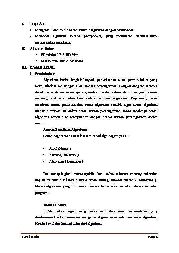 Penulisan Algoritma Dengan Pseudocode Meyla Yan Sari Academia Edu