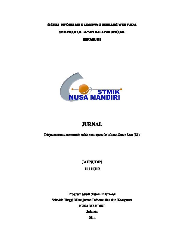 Pdf Sistem Informasi E Learning Berbasis Web Pada Esa Maulana