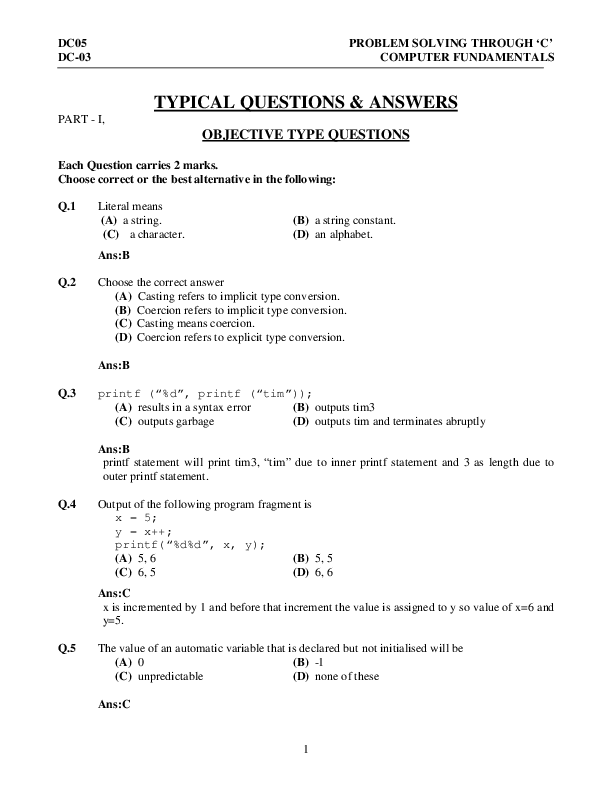 PDF) TYPICAL QUESTIONS & ANSWERS OBJECTIVE TYPE QUESTIONS