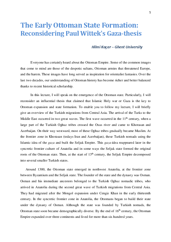 gazi thesis wittek